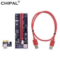 CHIPAL-Tarjeta elevadora PCI-E, adaptador de doble LED de 1M, 0,6 M, USB 3,0, Cable SATA de 6 pines y 4 pines, versión 009S, 1X a 16X PCIE, 10 Uds.