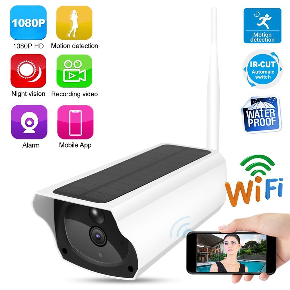 Hd 1080 p solor câmera de segurança solar wifi bala câmera webcam impermeável ao ar livre com 2 baterias de segurança hd bala câmera