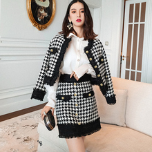 Black/white plaid tweed jacket + skirt suit autumn / winter womens long sleeve Business ladies 2 piece