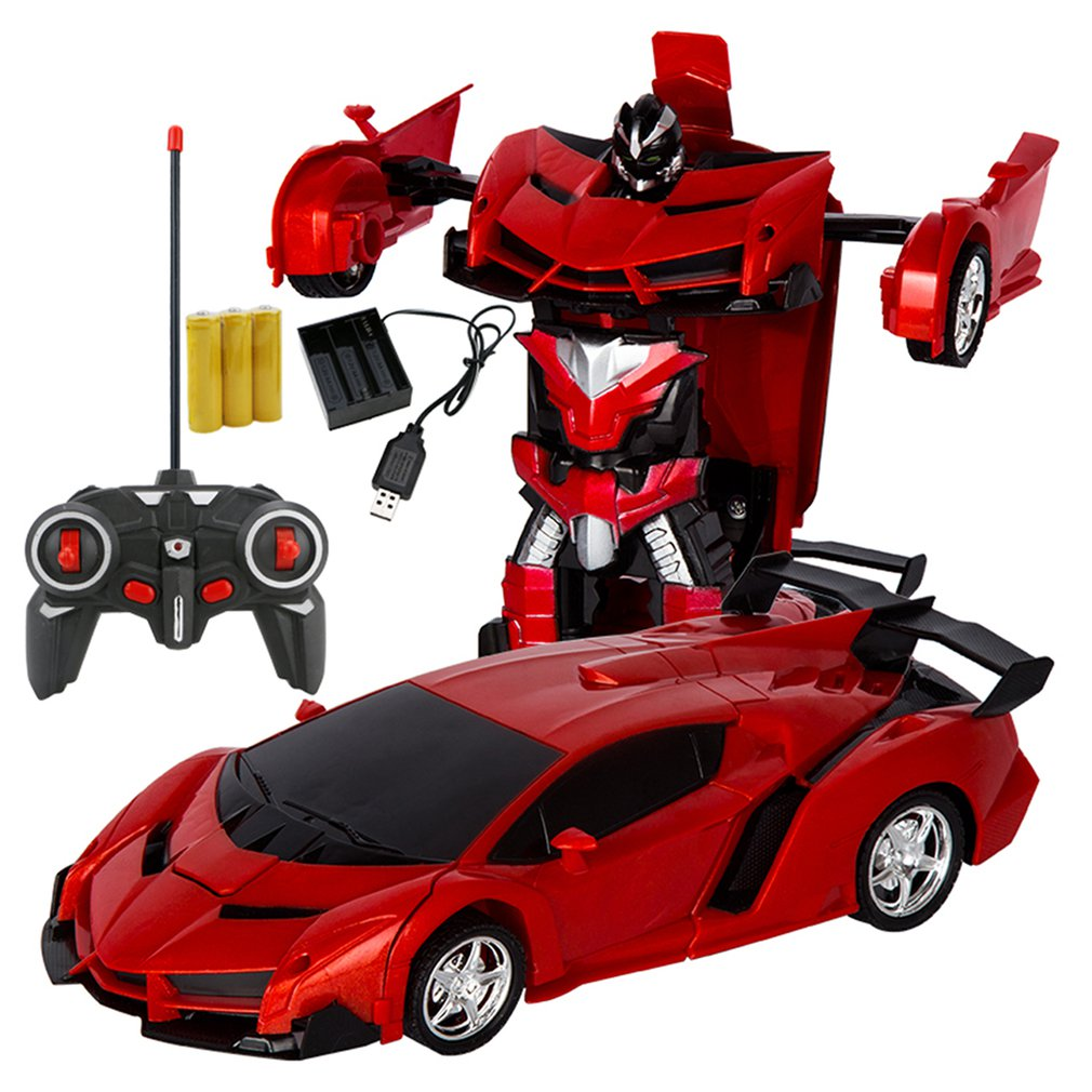 RC Car Transformation Robots Sports Vehicle Model Robots Toys Wireless Charging Cool Deformation Car With Battery RC Model Toy