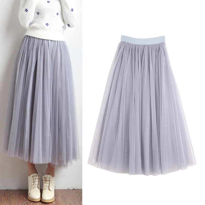 Fashion Tulle Pleated Skirt For Women Spring Autumn Solid Long Skirts Grey Black White Three-layer Mesh Tutu Fairy Streetwear