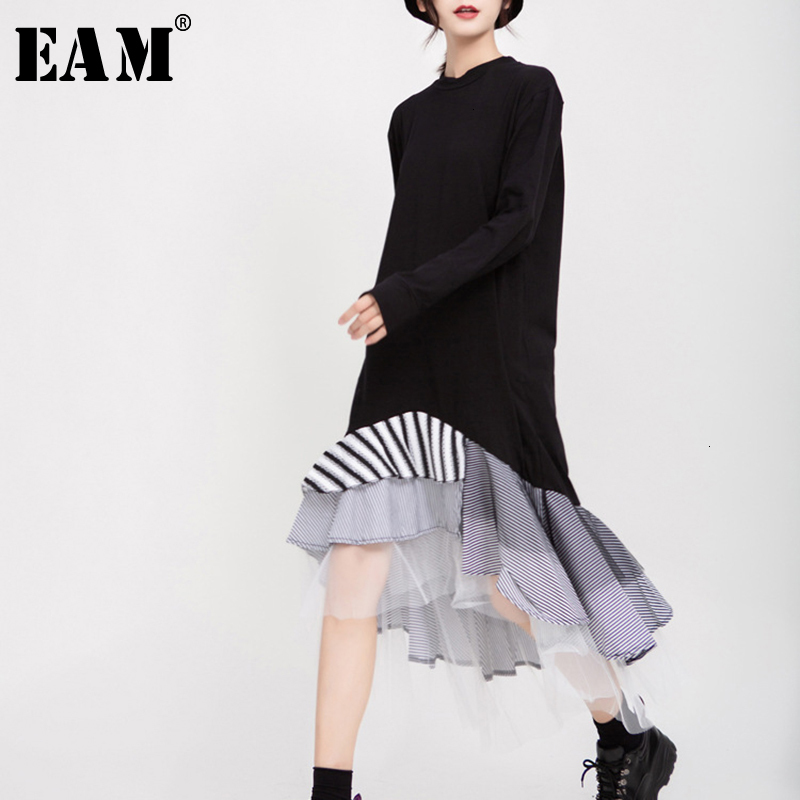 [EAM] Women Black Hem Mesh Plaid Temperament Dress New Round Neck Long Sleeve Loose Fit Fashion Tide Spring Autumn 2020 1D703