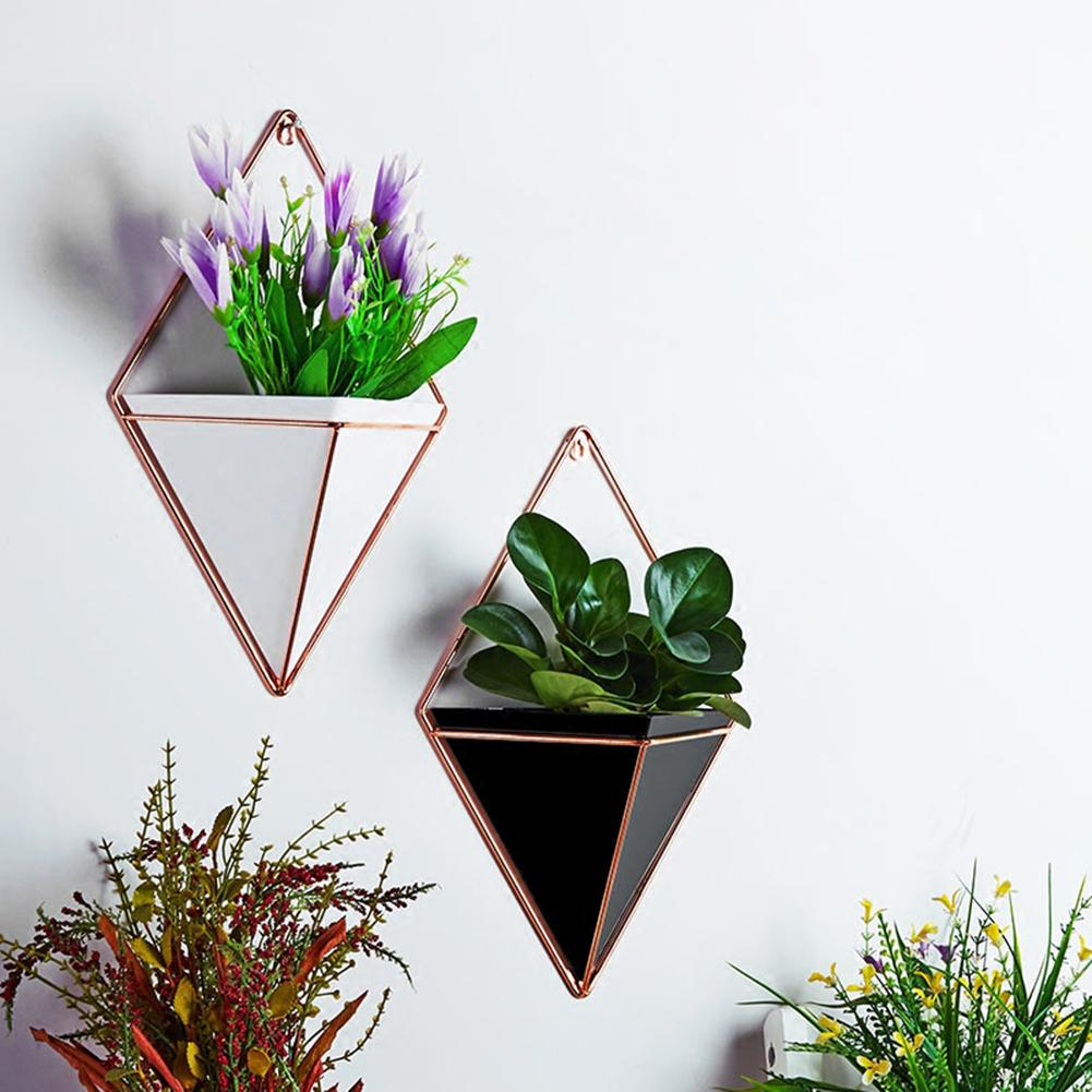 2019 Acrylic Flower Pot + Iron Plant Holders Set Indoor Hanging Planter Geometric Vase Wall Decor Container Succulents Plant Pot