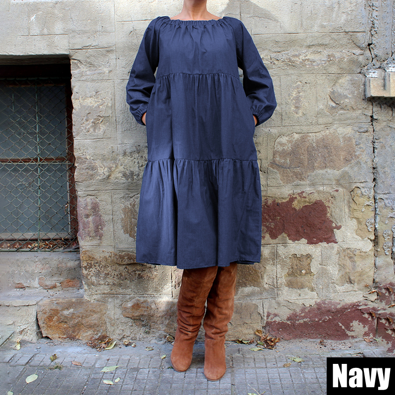 VONDA Plus Size Denim Dress 2019 Women Autumn Long Lantern Sleeve Knee-Length Dress Bohemian Vestido Off Shoulder Sundress 5XL