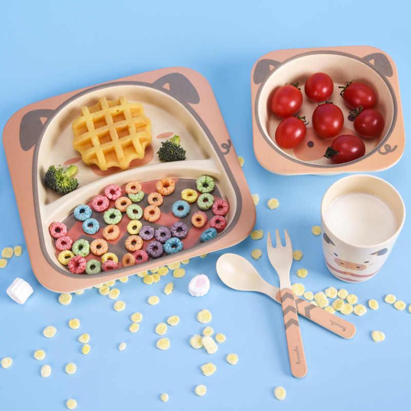 5 Pcs/set Bayi Piring Peralatan Makan Anak Kartun Makan Hidangan Kids Bambu Alami Serat Makan dengan Mangkuk Garpu Piala Sendok Piring