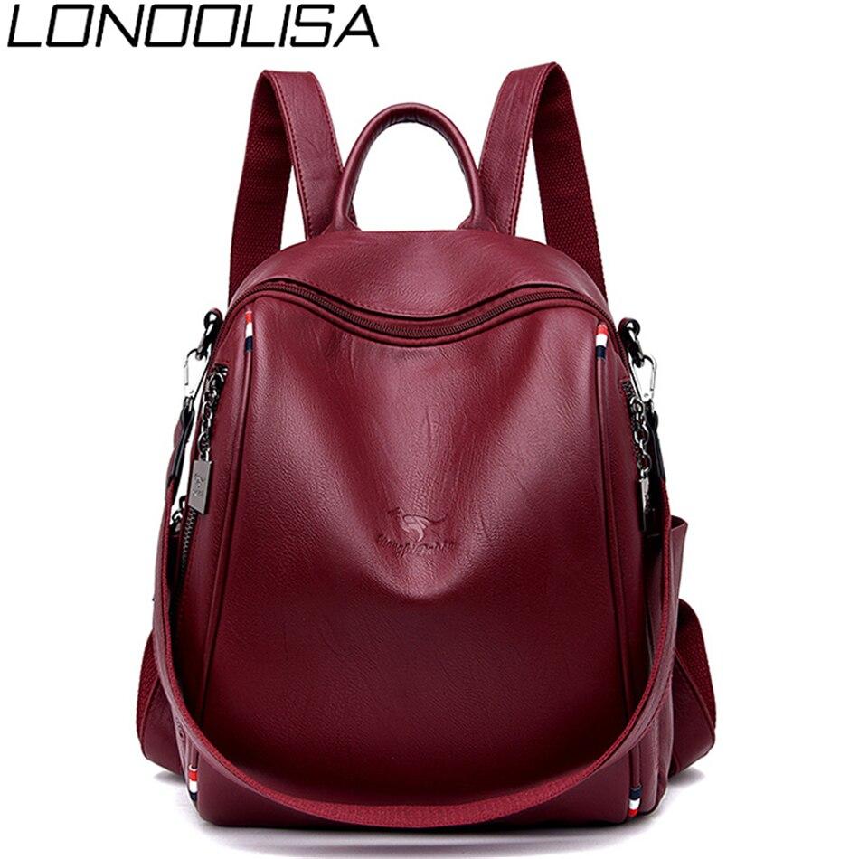 LONOOLISA Sac A Dos Women Leather Backpack 2019 Multifunction Bagpack School Shoulder Bags For Teenage Girls Mochila Feminina