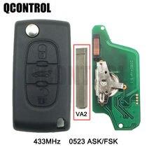 QCONTROL 3BT فليب البعيد مفتاح لبيجو 807 407 308 307 207 CC SW الخبراء شريك السيارات الباب قفل CE0523 ASK/FSK ، VA2