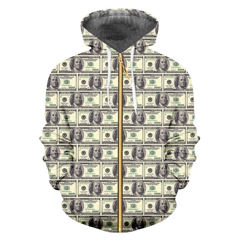 Купить толстовка ifpd на молнии мужская свитшот с 3d принтом доллара