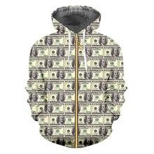 Толстовка ifpd на молнии мужская свитшот с 3d принтом доллара