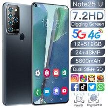 Najnowszy Note25U 7.2 cal HD pełny wyświetlacz smartfony z systemem Android 12GB + 512GB 5G niech MTK6889 10-Core dużej pojemności telefon komórkowy