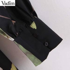 Image 5 - Vadim frauen retro floral print mini kleid v ausschnitt langarm zurück zipper weibliche vintage stilvolle kleider vestidos mujer QD195
