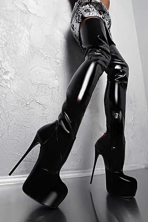 Feminino botas de salto alto extremo sobre o joelho botas cunha com salto fino sapatos plataforma mulher tamanho grande zapatos mujer