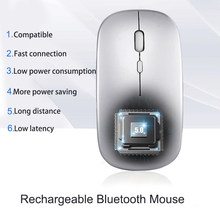 2.4Ghz + Bluetooth Dual mode Wireless Mouse 800/1200/1600 DPI Rechargeable Ergonomic Portable Optical Mice Computer PC Pad