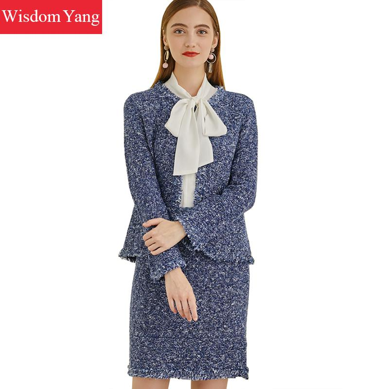 2 Piece Set Winter Coat Women Suit Coat Woollen Sheep Wool Blue Korean Tassel Coats Mini Pencil Wrap Skirts Overcoat Outerwear