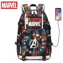 Marvel plecak na laptopa kobiety mężczyźni z ładowaniem USB podróżny plecak Avengers plecak męski plecak szkolny w stylu retro pojemność Mochilas tanie tanio PŁÓTNO CN (pochodzenie) wytłoczone Unisex Miękka osłona 20-35 litrów Otwór na wyjście miękki uchwyt Plecaki litera