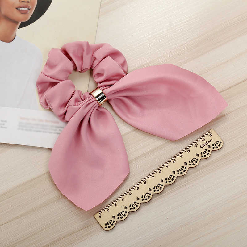 2019 Satin Silk Hair Bow Scrunchies Women Pearls Elastic Hair Bands Ponytail Holder Scarf Hair Tie Rope Girls Hair Accessories