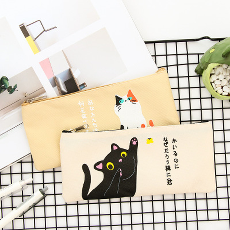 1pcs Cat Pencil Case Student Cute  Pen Bag  Large Capacity Zipper Pencil Bag Novelty Stationery Pen Case Kawaii School Supplies