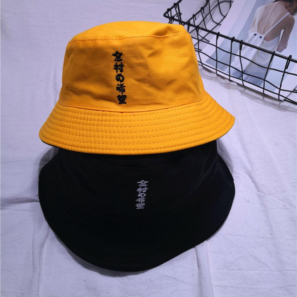 Unisex Fashion Double-Sided Word Print Foldable Fisherman Sun Hat Bucket Cap Word Print Foldable Fisherman Sun Hat Bucket Cap