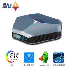 A95X F4 Amlogic S905X4 RGB أندرويد 10 مجموعة صندوق فوقي 4K HD يوتيوب 4GB RAM 32GB 64GB 128GB ROM مربع التلفزيون الذكية واي فاي 2G 16G