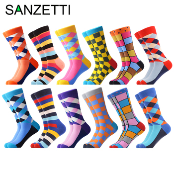 SANZETTI 12 Pari/pakovanje 2019 Newest Winter Warm Colorful Men's Casual Combed Cotton Happy Crew Socks Novelty Dress Wedding Socks