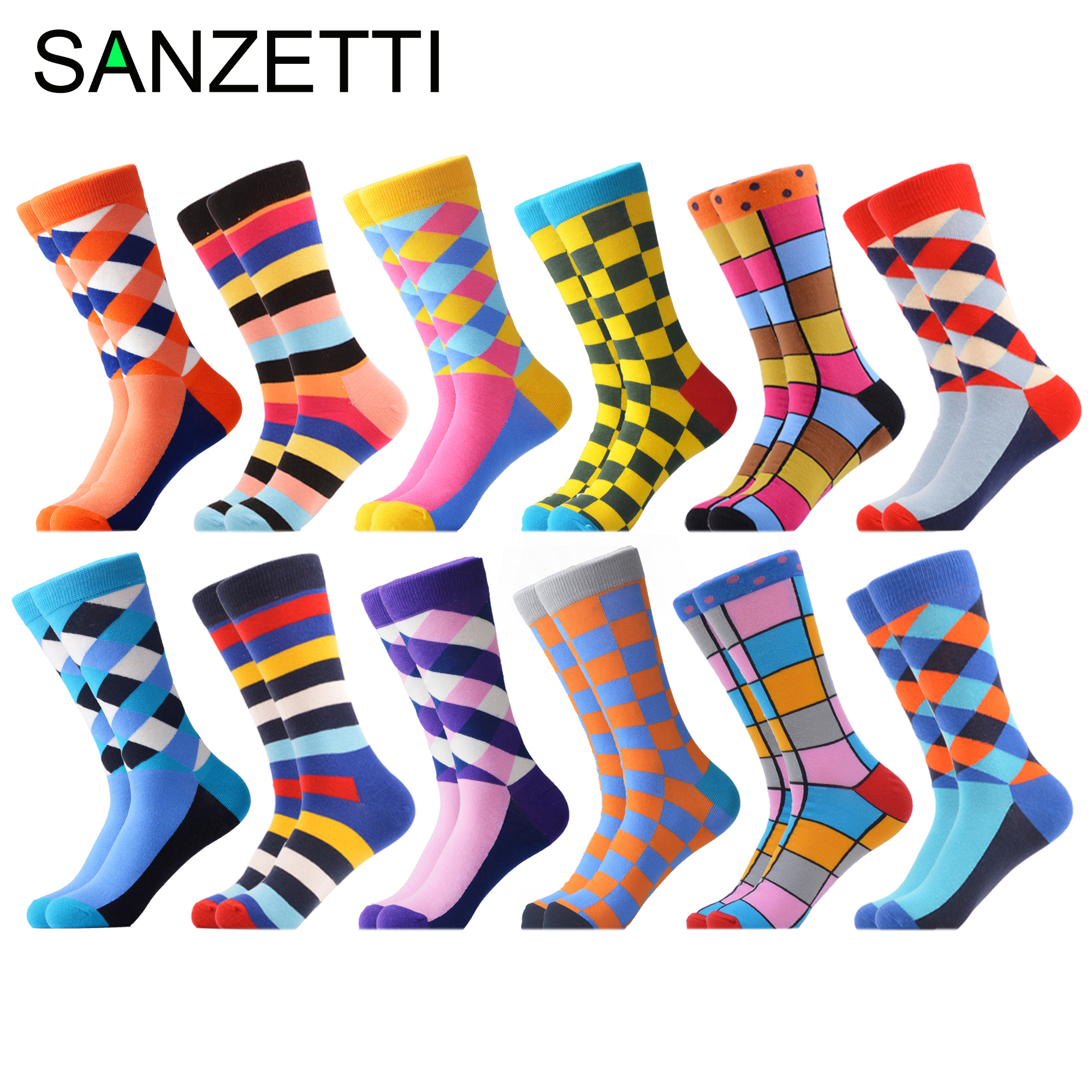 SANZETTI 12 Pairs/Lot 2019 Newest Winter Warm Colorful Men's Casual Combed Cotton Happy Crew Socks Novelty Dress Wedding Socks