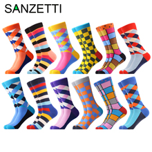 SANZETTI Combed Cotton Crew Socks Dress Happy Winter Novelty Colorful 12-Pairs/Lot Men's