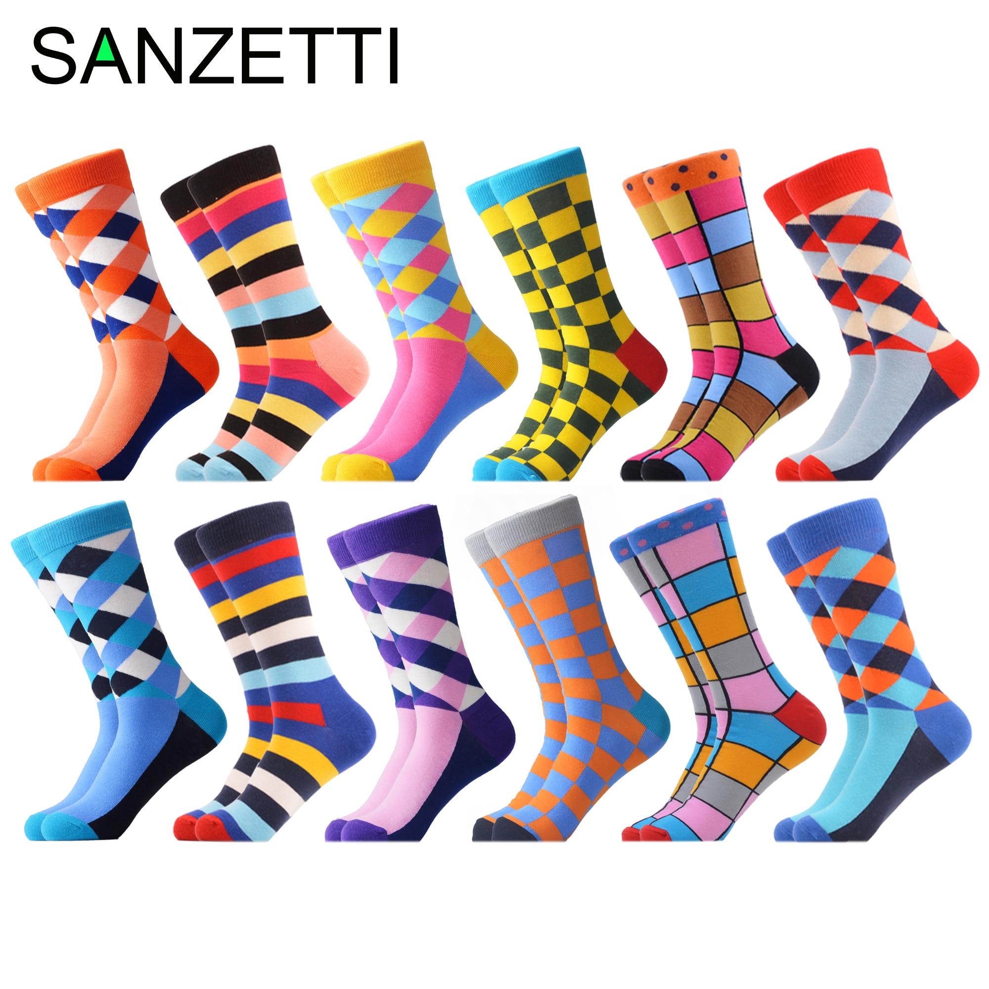SANZETTI 12 Pairs/Lot 2020 Newest Winter Warm Colorful Men's Casual Combed Cotton Happy Crew Socks Novelty Dress Wedding Socks
