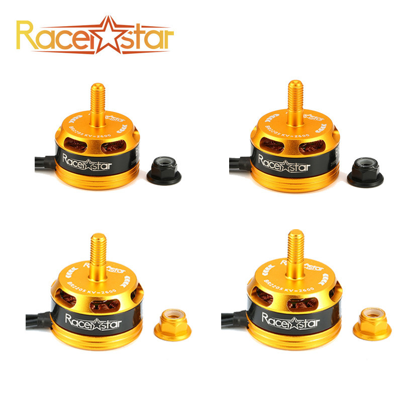 New Arrival 4 PCS Racerstar Racing Edition 2205 <font><b>BR2205</b></font> 2600KV 2-4S Brushless Motor CW/CCW Yellow For QAV250 ZMR250 260 image