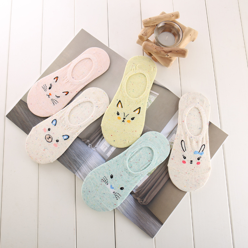 5 Pairs Women Invisible No Show Nonslip Loafer Boat Low Cut Liner Cotton Socks
