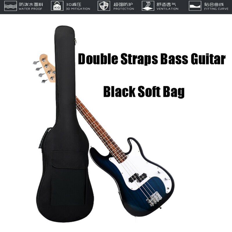 US STOCK 600D Oxford Double Straps Electric Bass Guitar Bag Soft Case Backpack Black UK