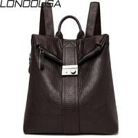 LONOOLISA Japan Style Lock Women Leather Backpack 2019 Female Bagpack Ladies Travel Back Pack School Bags For Teenage Girls Sac