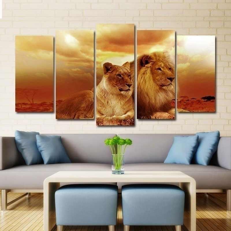 5 Tấm Safari Sư Tử Và Sư Tử Trong Hoàng Hôn Thú Tranh Treo Tường Hình Trên Vải Tranh Treo Tường Hình Cho trang Trí Nhà