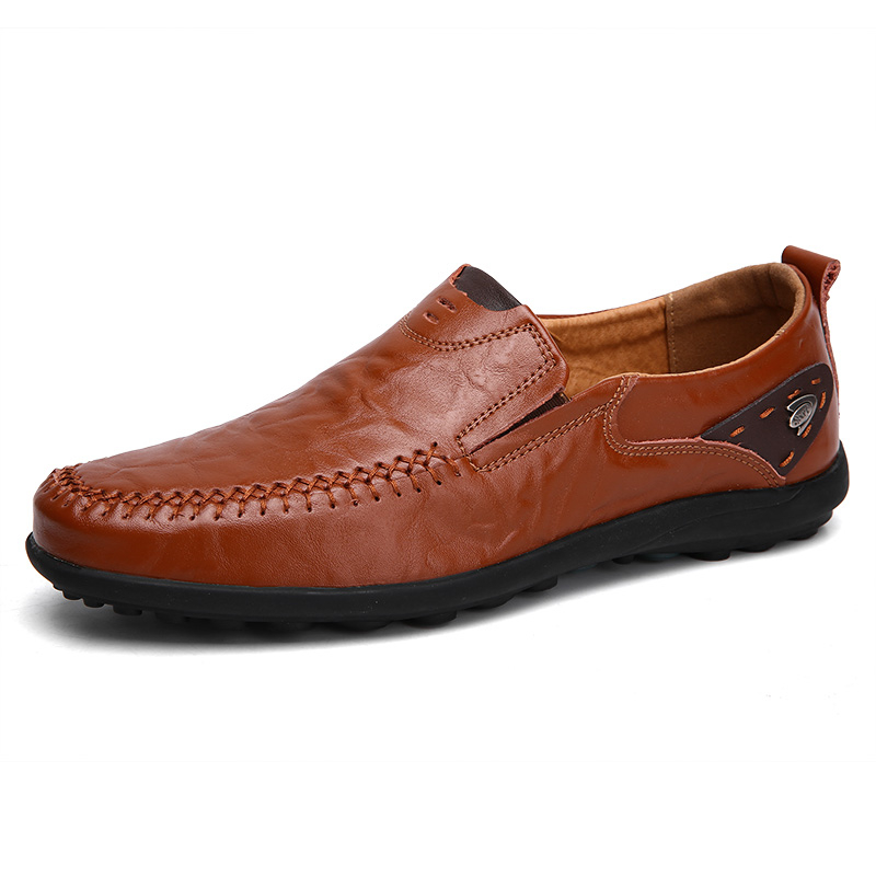 Hand-stitched Cow Leather Men's Loafers Comfortable Slip-on Driving Casual Shoes Soft Bottom Big Size 38-47 Support Dropshipping