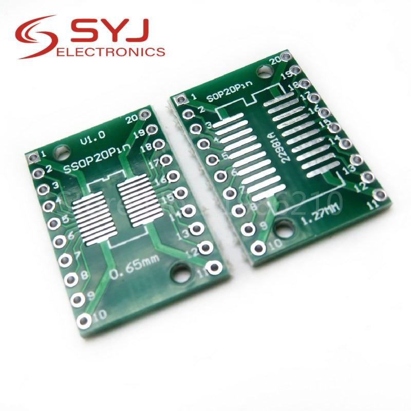 10 pçs/lote SOP20 SSOP20 TSSOP20 para DIP20 Pinboard SMD Para DIP Adaptador 0.65mm/1.27mm a 2.54mm DIP Pin Pitch Pcb Conversor