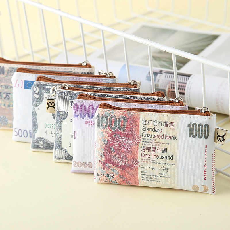 2019 novo criativo romance mulheres papel dinheiro carteira lona dos homens bonito bolsa de moedas moda organizador saco zíper embreagem crianças titular do cartão