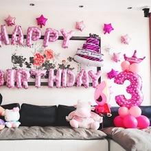 32-дюймовый цифровой воздушные шары на день рождения воздушные шары воздушные номер Фольга воздушные шары с днем День рождения украшения дети клипсы для воздушных шаров, Фотофон с изображением мультяшной шляпы
