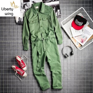 Harajuka мальчик друг стиль однобортный мужской комбинезон пояса карманы винтажные свободные Модные мужские повседневные Комбинезоны