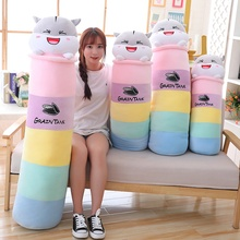70cm/90cm New Lovely Colorful Hamster Plush Long Pillow Toy Soft Cartoon Animal Mouse Stuffed Doll Bed Pillow Cushion Kid Gifts fashion colorful cartoon animal printed square new composite linen blend pillow case