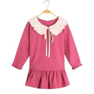 Image 3 - Trẻ Em Bé Gái Tay Dài Mùa Xuân 2020 Búp Bê Đáng Yêu Cổ Áo Váy Đầm Cho Bé Tập Đi Cho Bé Thời Trang Trẻ Em Quần Áo 3 6 8 10 12 Năm
