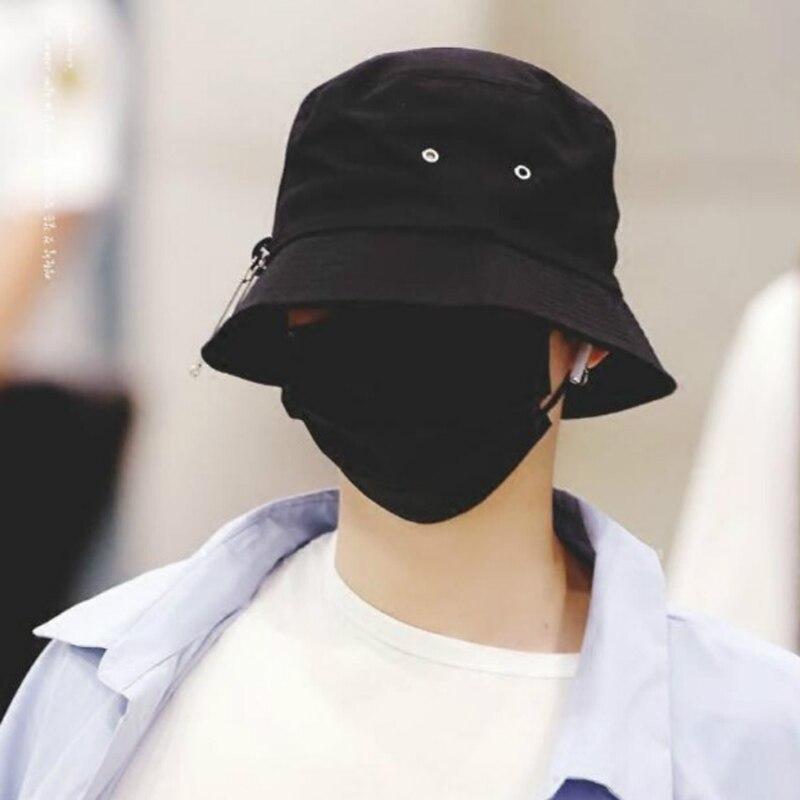 Jungkook Airport Fashion Pin Fisherman Hat 10