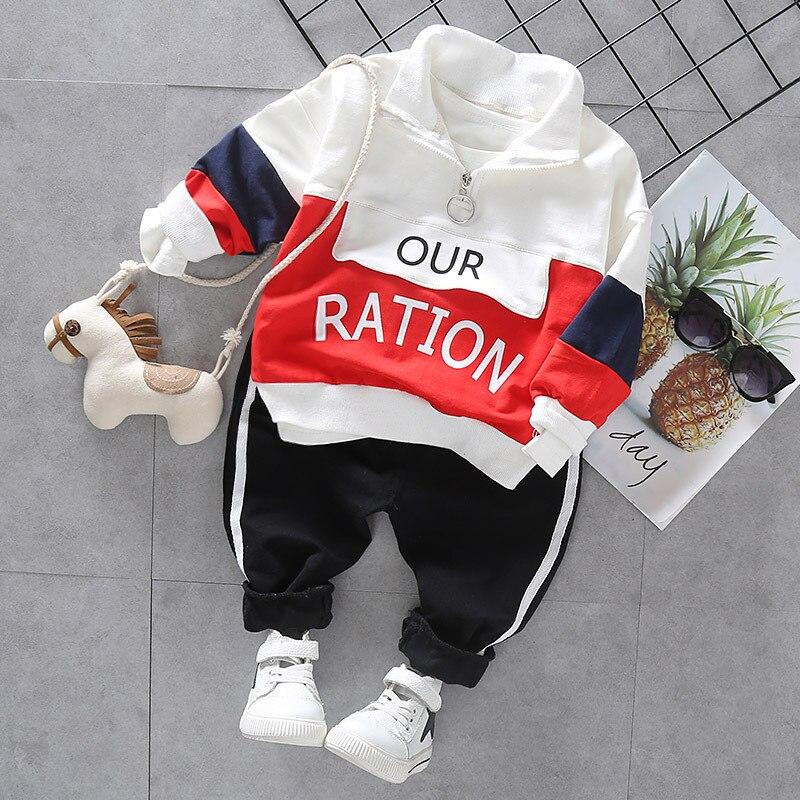 Fashion Baby Boys Autumn Winter Set Kids Hooded Coats Pants 2pcs Outfit Children Letter Splicing Suit Infant Casual Clothes 2