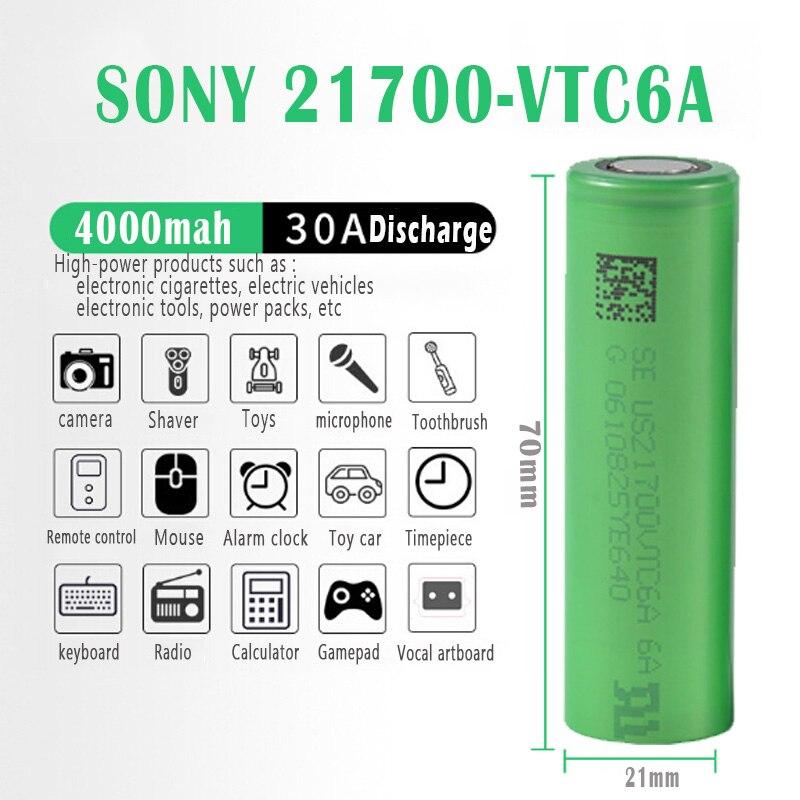 SONY batería de litio recargable VTC6A, 21700 V, 3,7 mAh, para linterna  Led, herramienta eléctrica, cámara de juguete para coche eléctrico, novedad  de 4000|Baterías recargables| - AliExpress