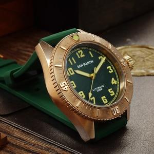Image 2 - San Martin Diver brązowy automatyczny obrotowy Bezel męski mechaniczny zegarek 200m wodoodporny zespół świecąca tarcza