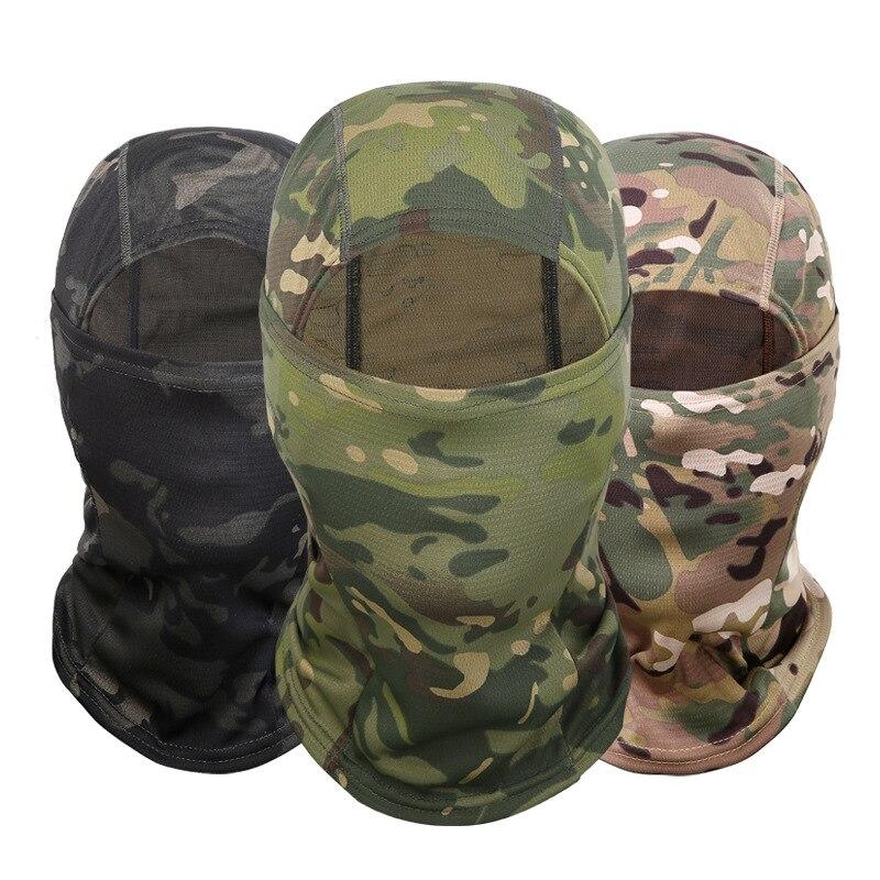 ทหารยุทธวิธี Balaclava หมวก CP Camouflage Full Face Mask ขี่จักรยานการล่าสัตว์กองทัพทหารหมวกกันน็อกยุทธวิธี Airsoft หมว...
