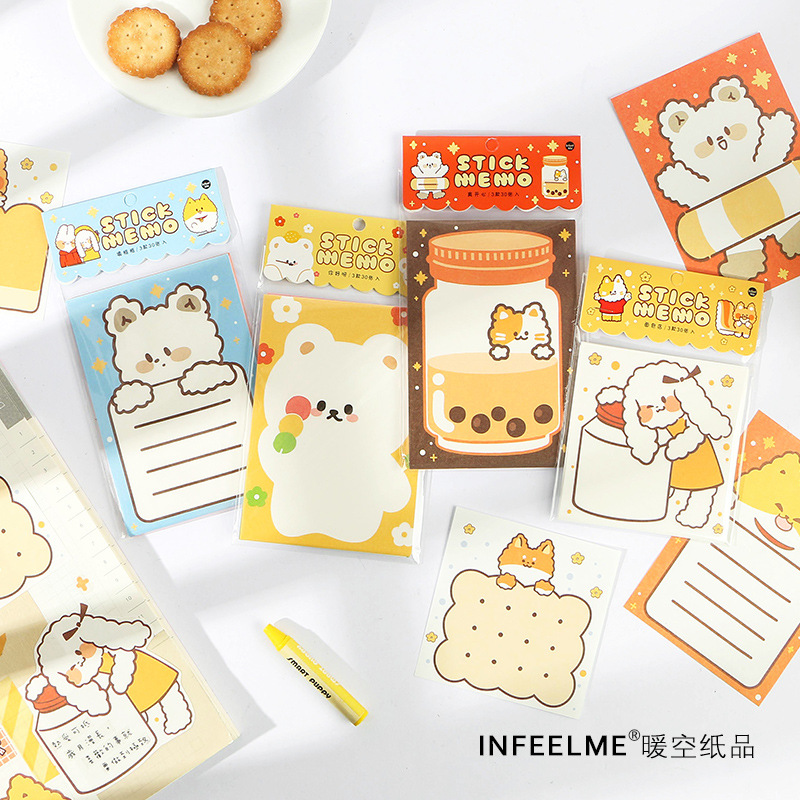 1set/lot Memo Pads Sticky Notes Furry Series Paper Diary Scrapbooking Stickers Office School Stationery Notepad