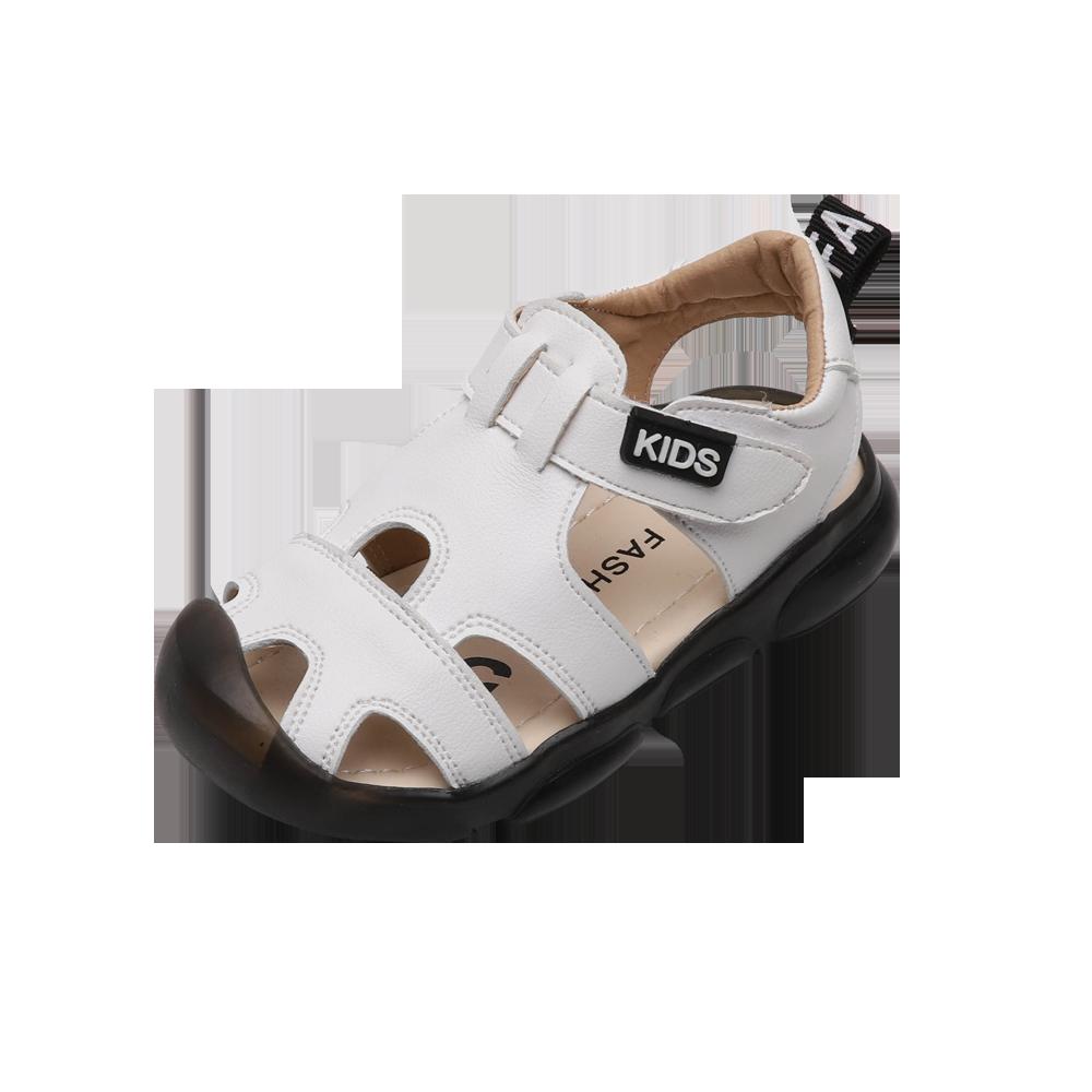 Summer Boys Sandals Fashion Solid Color Baby Cut-outs Sandalas Kids Boys Flat Beach Sandals Anti-slip Black White SZ223