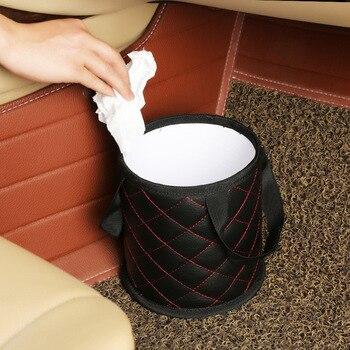 PU Waterproof Leather Dumpster Portable Car Garbage Bin