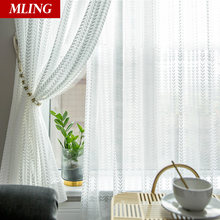 Modern style white sheer curtains for living room tulle windows