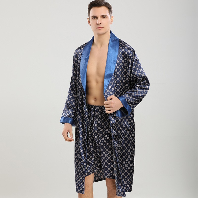 Men Robe Sets Satin Kimono Gown Male Sleepwear Bathrobe Faux Silk 2PCS Robe&Shorts Suit Casual Nightwear Lounge Wear Homewear