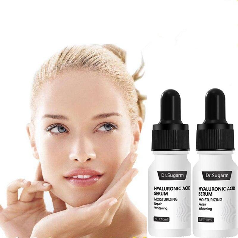 2 Bottles Dr.Sugarm Hyaluronic Acid Face Serum Anti-Aging Shrink Pore Whitening Moisturizing Essence Face Cream Dry Skin Care